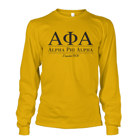 Alpha Phi Alpha Collegiate Long Sleeve - Letters Greek Apparel - Black Greek Paraphernalia
