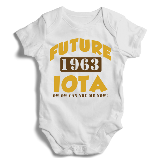 Baby Iota Phi Theta Onesie (White) - Letters Greek Apparel - Black Greek Paraphernalia