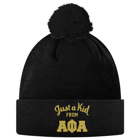 Alpha Phi Alpha Just a Kid Pom Pom Beanie - Letters Greek Apparel - Black Greek Paraphernalia