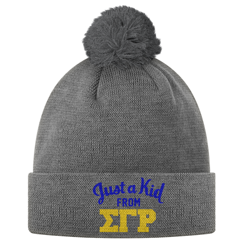 Sigma Gamma Rho Just A Kid Pom Pom Beanie - Letters Greek Apparel - Black Greek Paraphernalia