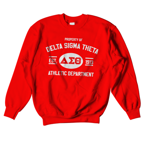 Delta Sigma Theta Athletic Crewneck Sweatshirt - Letters Greek Apparel - Black Greek Paraphernalia