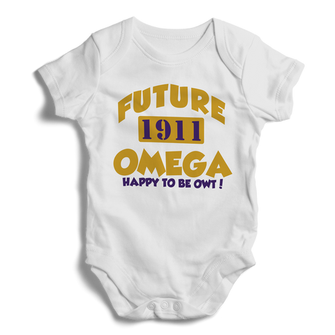 Baby Omega Psi Phi Onesie (White) - Letters Greek Apparel - Black Greek Paraphernalia