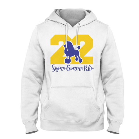 Sigma Gamma Rho Founded Hoodie (White) - Letters Greek Apparel - Black Greek Paraphernalia