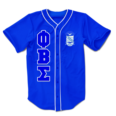 Phi Beta Sigma Embroidered Greek Baseball Jersey - Letters Greek Apparel-Black Greek Paraphernalia-Divine Nine Apparel