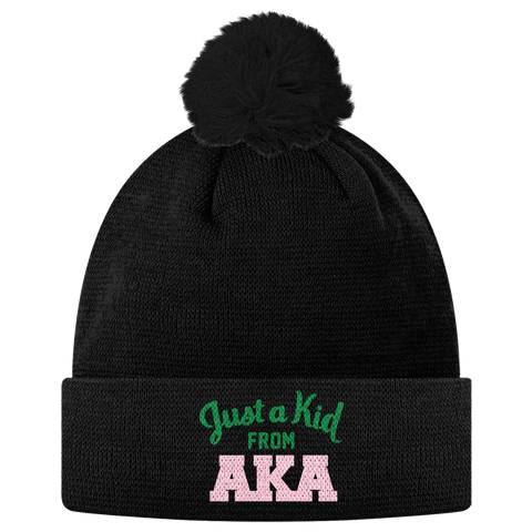 Alpha Kappa Alpha Just a Kid Pom Pom Beanie - Letters Greek Apparel - Black Greek Paraphernalia