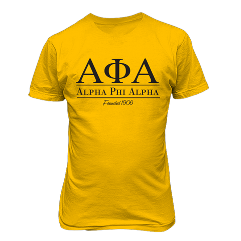 Alpha Phi Alpha Collegiate Tee - Gold - Letters Greek Apparel - Black Greek Paraphernalia