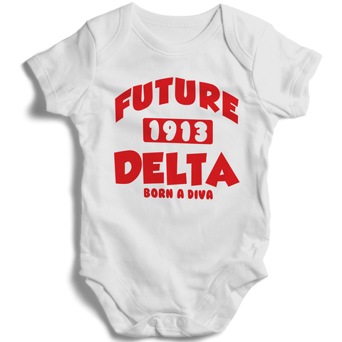 Baby Delta Sigma Theta Onesie (White) - Letters Greek Apparel - Black Greek Paraphernalia