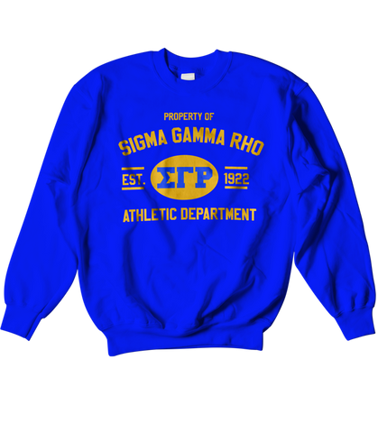 Sigma Gamma Rho Athletic Crewneck Sweatshirt - Letters Greek Apparel - Black Greek Paraphernalia