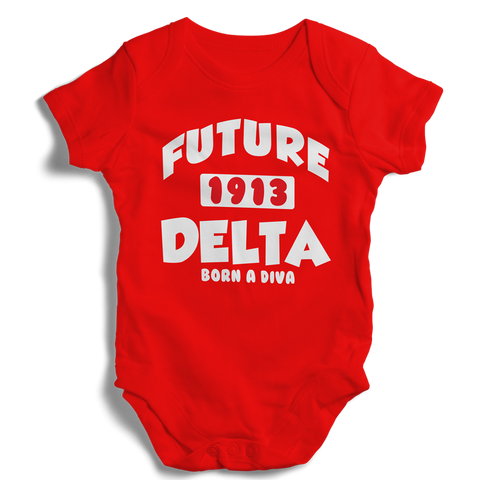 Baby Delta Sigma Theta Onesie (Red) - Letters Greek Apparel - Black Greek Paraphernalia