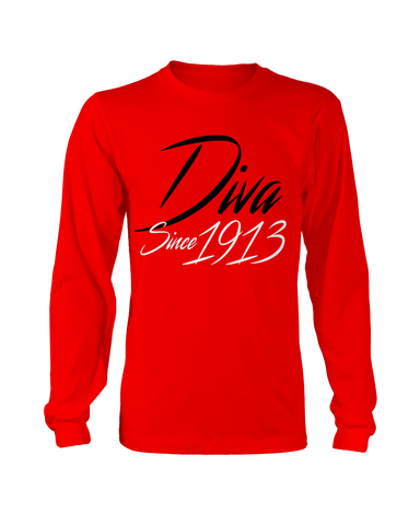 Delta Sigma Theta Since 1913 Long Sleeve - Letters Greek Apparel - Black Greek Paraphernalia