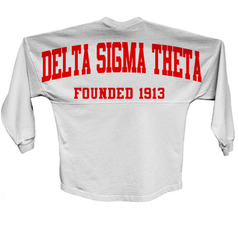 Delta Sigma Theta Spirit Jersey (White) - Letters Greek Apparel - Black Greek Paraphernalia
