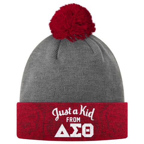 Delta Sigma Theta Just a Kid Pom Pom Beanie - Letters Greek Apparel - Black Greek Paraphernalia