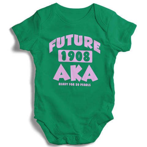 Baby Alpha Kappa Alpha Onesie (Green) - Letters Greek Apparel - Black Greek Paraphernalia