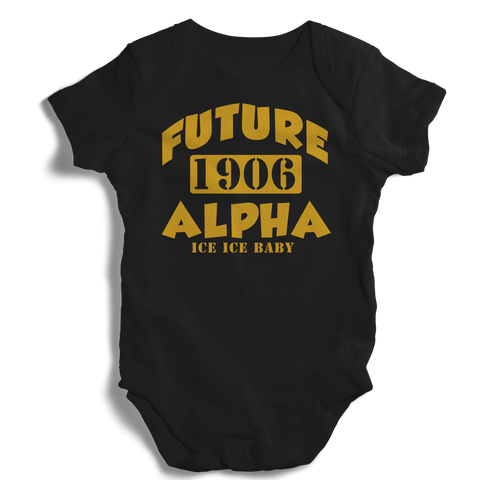 Baby Alpha Phi Alpha Onesie (Black) - Letters Greek Apparel - Black Greek Paraphernalia