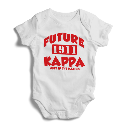 Baby Kappa Alpha Psi Baby Onesie (White) - Letters Greek Apparel - Black Greek Paraphernalia