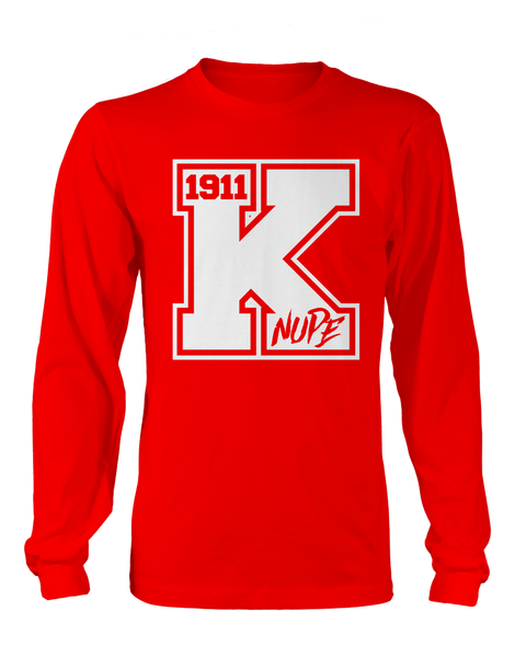 Kappa Alpha Psi Varsity Long Sleeve - Letters Greek Apparel - Black Greek Paraphernalia