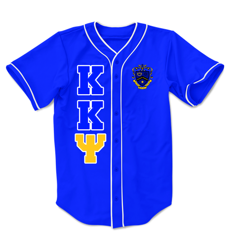 Kappa Kappa Psi Embroidered Greek Baseball Jersey - Letters Greek Apparel-Black Greek Paraphernalia-Divine Nine Apparel