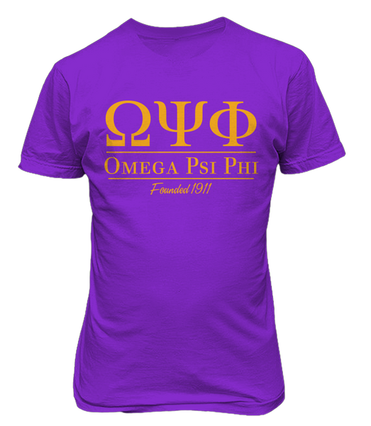 Omega Collegiate Tee - Purple - Letters Greek Apparel - Black Greek Paraphernalia