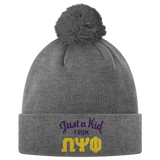 Omega Psi Phi Just A Kid Pom Pom Beanie