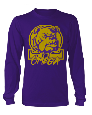 Omega Psi Phi Varsity Long Sleeve - Letters Greek Apparel - Black Greek Paraphernalia