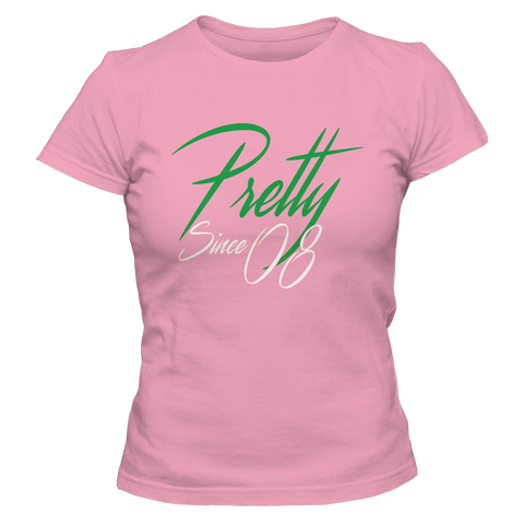 Alpha Kappa Alpha Pretty Since 08 Tee - Letters Greek Apparel - Black Greek Paraphernalia