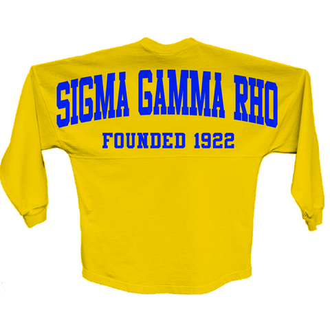 Sigma Gamma Rho Spirit Jersey (Gold) - Letters Greek Apparel - Black Greek Paraphernalia