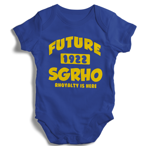 Baby Sigma Gamma Rho Onesie (Blue) - Letters Greek Apparel - Black Greek Paraphernalia