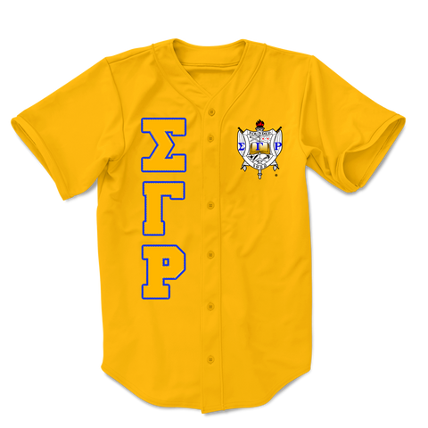 Sigma Gamma Rho Embroidered Greek Baseball Jersey (Gold) - Letters Greek Apparel-Black Greek Paraphernalia-Divine Nine Apparel
