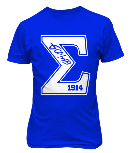Sigma Varsity Tee - Blue - Letters Greek Apparel - Black Greek Paraphernalia