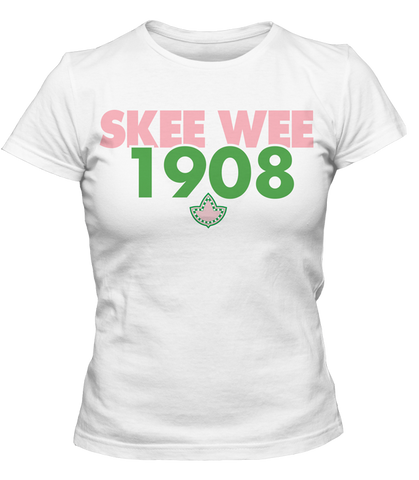 Alpha Kappa Alpha Skee Wee 1908 Founding Year T-Shirt - Letters Greek Apparel-Black Greek Paraphernalia-Divine Nine Apparel