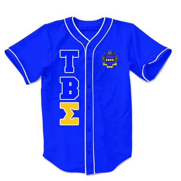 Tau Beta Sigma Embroidered Greek Baseball Jersey - Letters Greek Apparel-Black Greek Paraphernalia-Divine Nine Apparel