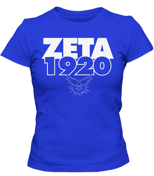 Zeta Phi Beta 1920 Founding Year T-Shirt - Letters Greek Apparel-Black Greek Paraphernalia-Divine Nine Apparel