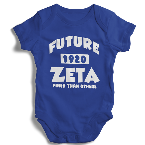 Baby Zeta Phi Beta Onesie (Blue) - Letters Greek Apparel - Black Greek Paraphernalia