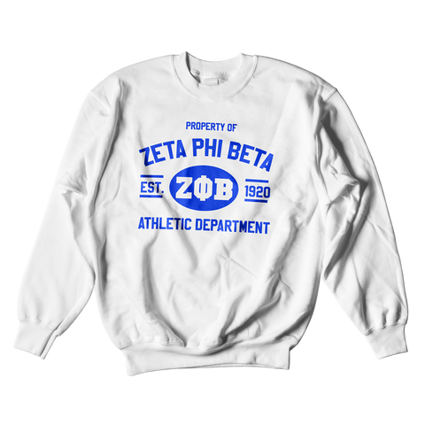 Zeta Phi Beta Athletic Crewneck Sweatshirt - Letters Greek Apparel - Black Greek Paraphernalia