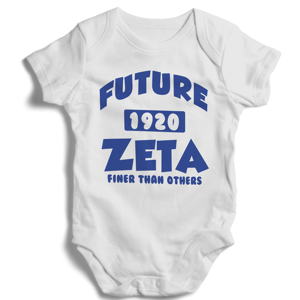 Baby Zeta Phi Beta Onesie (White) - Letters Greek Apparel - Black Greek Paraphernalia