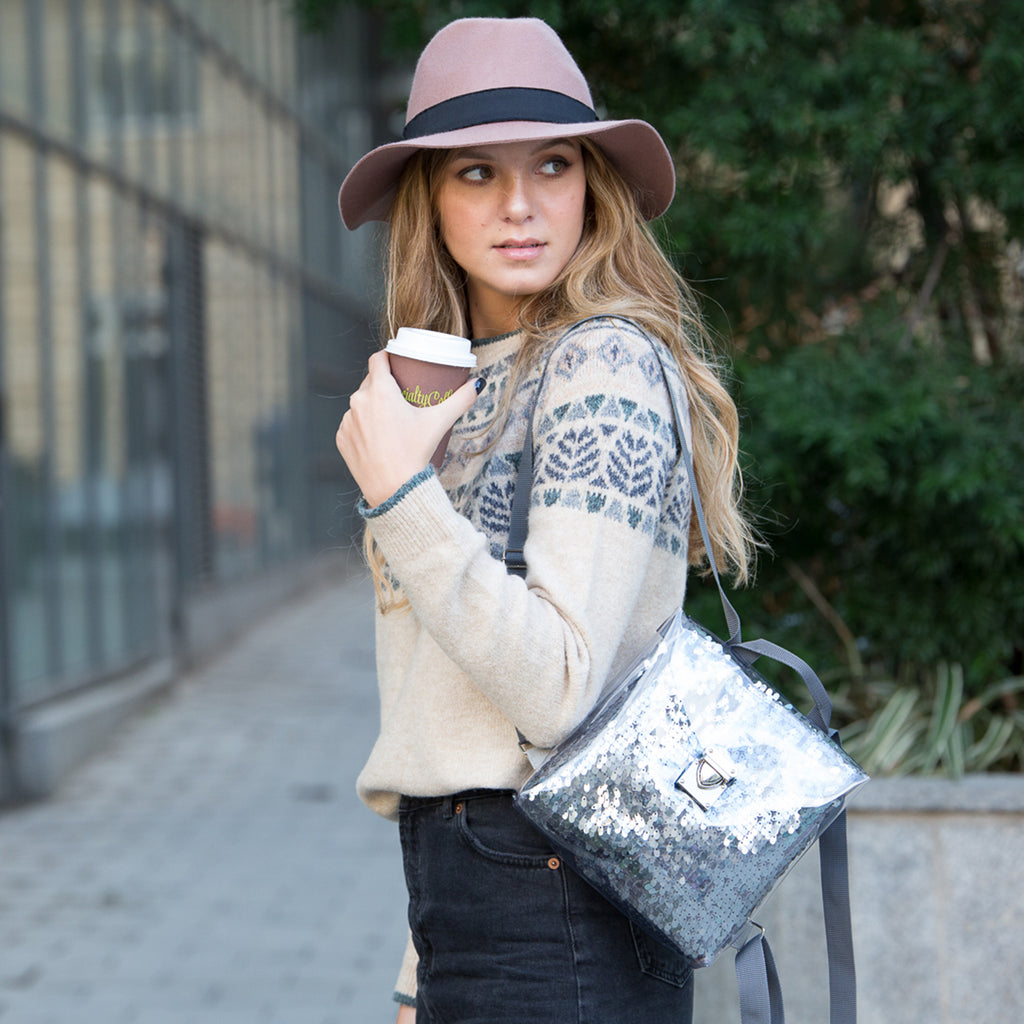 Gray sequins drops - backpack