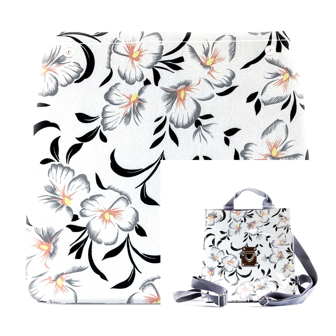 White Flowers - Fabric Insert (Backpack)