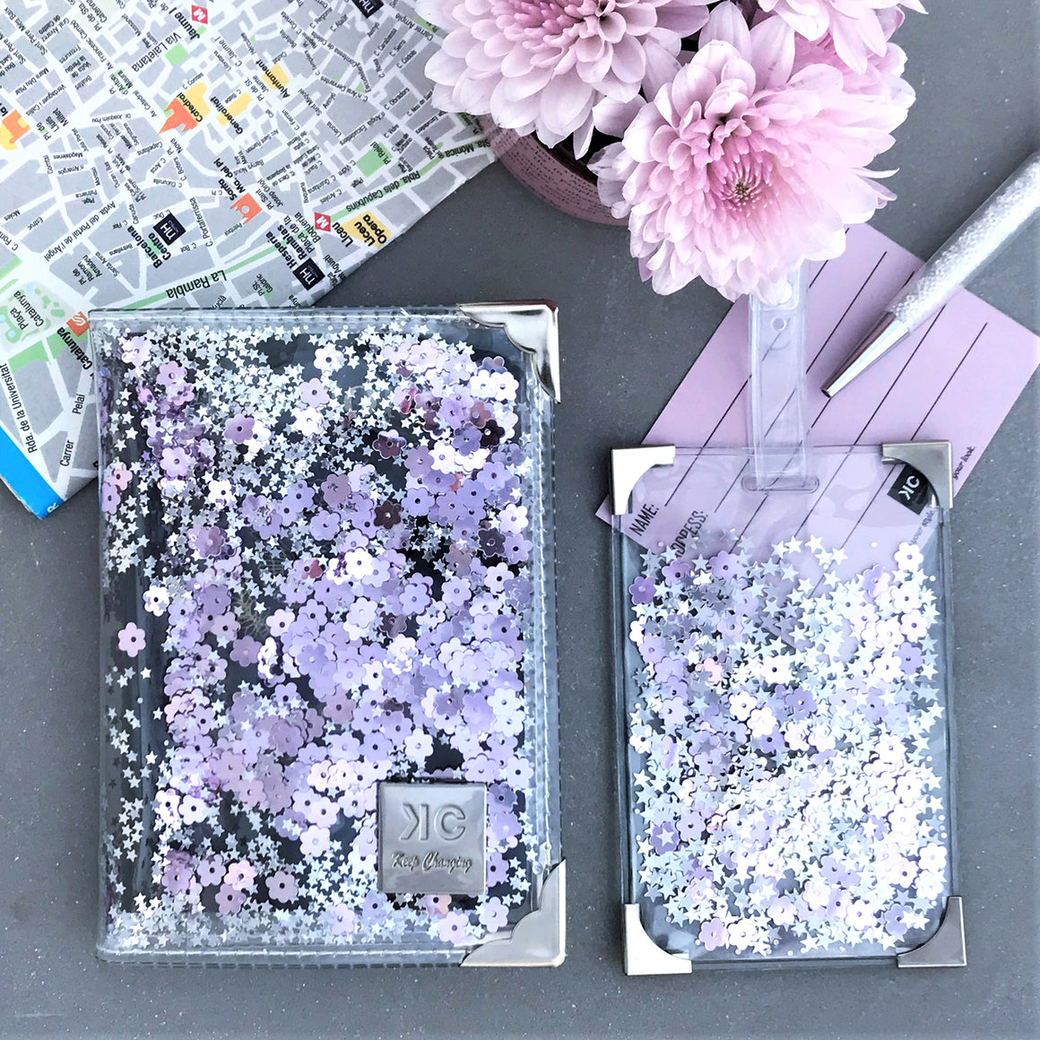 Glitter Passport Cover and luggage tag set - Purple-Rose