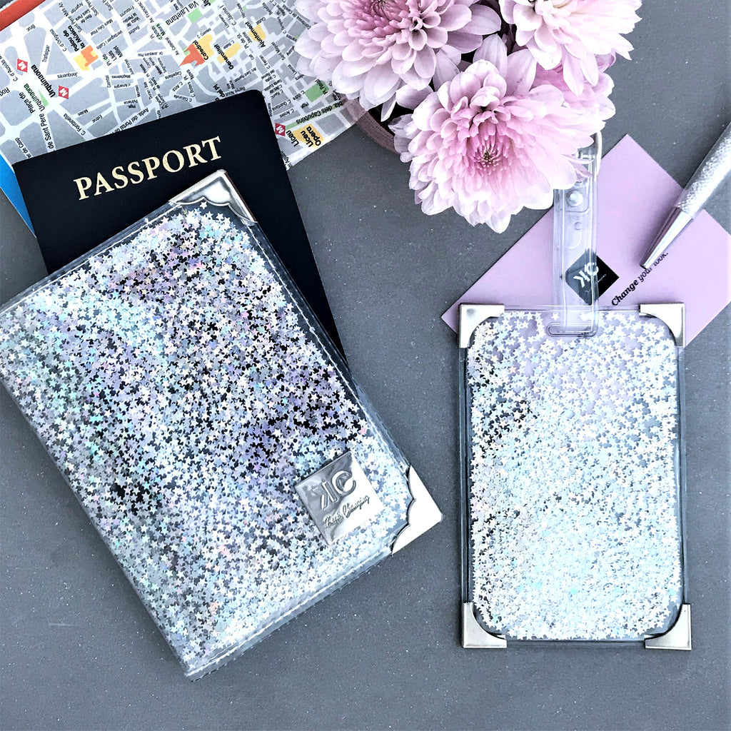 Glitter Passport Cover and luggage tag set - Mini Stars