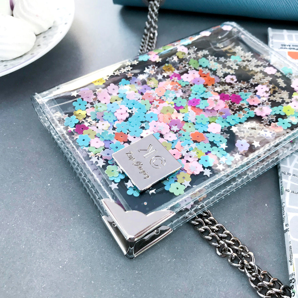 Glitter Passport Cover and luggage tag set - Rainbow