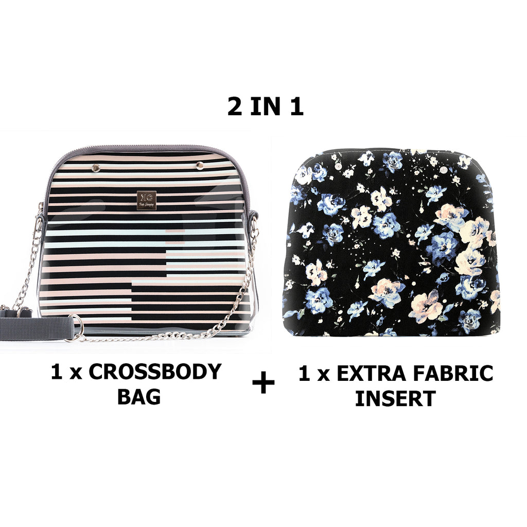 1 x Crossbody bag + 1 x Extra Fabric Insert (Oxford + London)