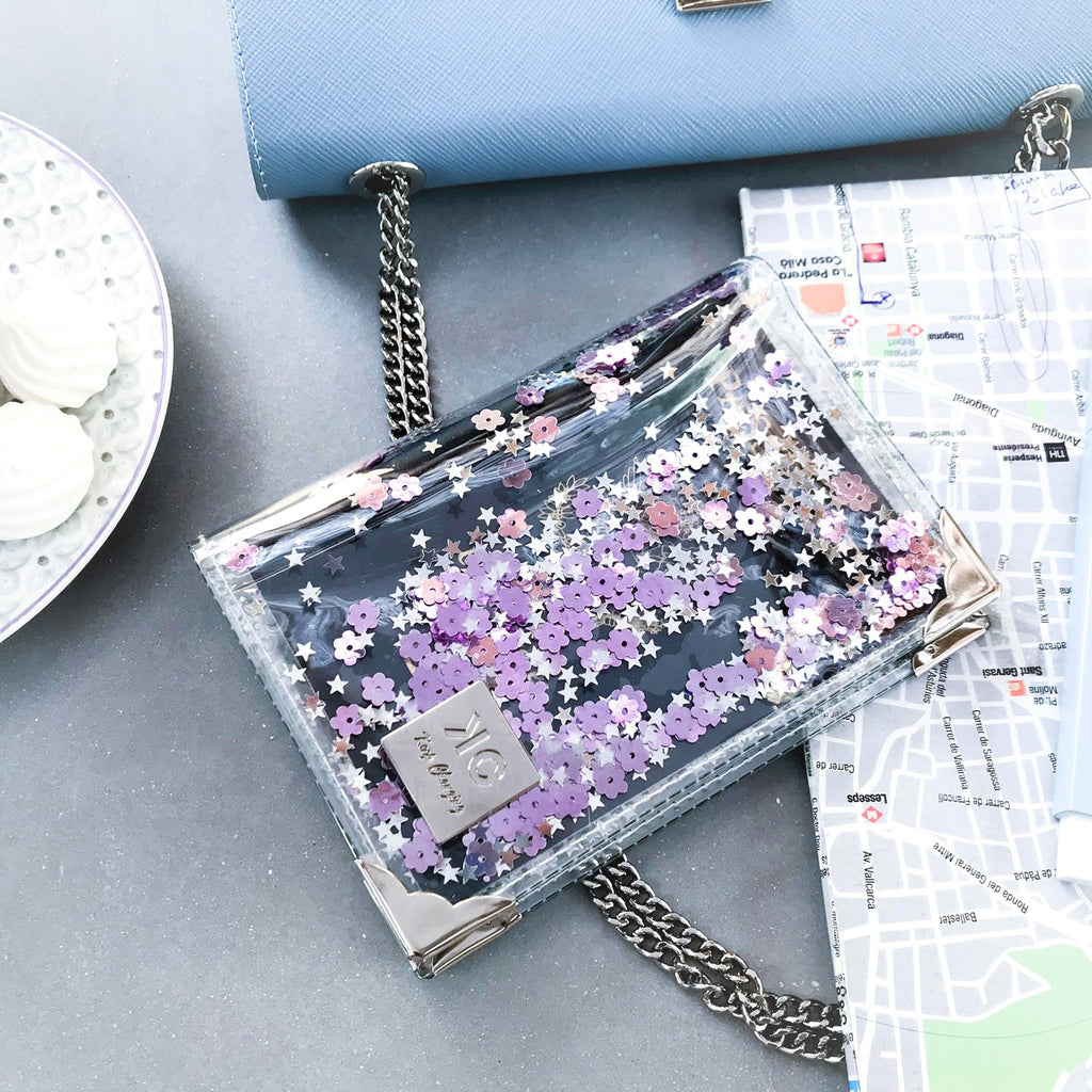 Sequins Passport Cover - Purple - Rose