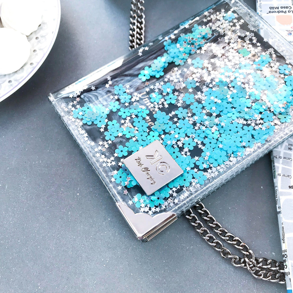 Glitter Passport Cover and luggage tag set - Aquamarine