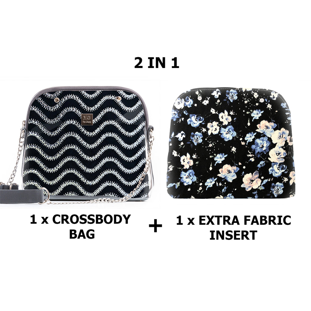 1 x Crossbody bag + 1 x Extra Fabric Insert (Wave + London)