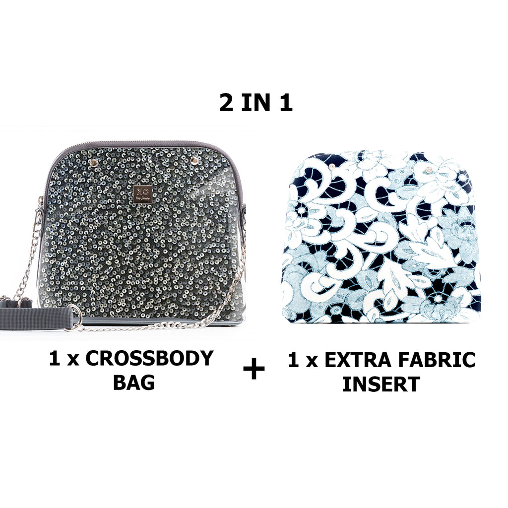 1 x Crossbody bag + 1 x Extra Fabric Insert (Glory + Greece)