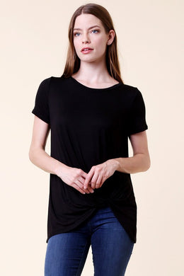 Short Sleeve Solid Twisted Knot Top