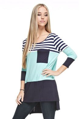 Mint & Navy/White Striped 3/4 Length Sleeve Top Small