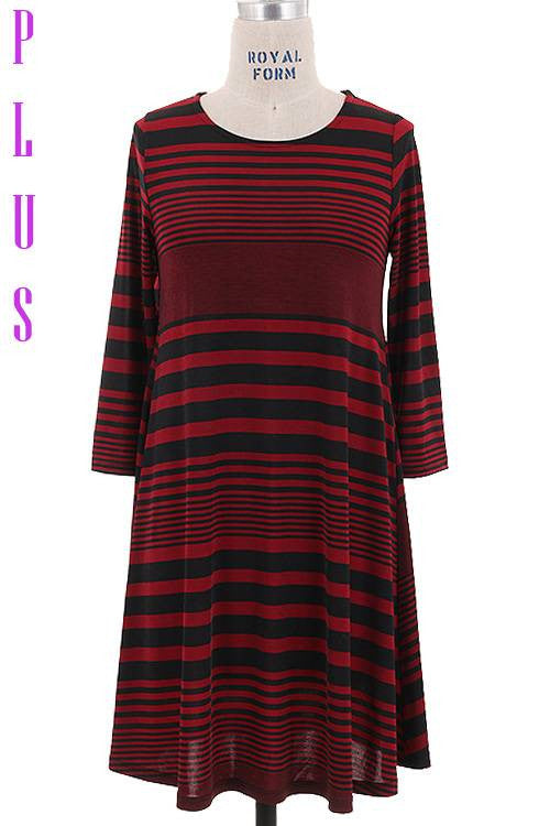 Striped Dress, 1/2 Sleeves Black/Burgundy