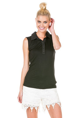 Solid Knit Sleeveless Collared Button Down Shirt