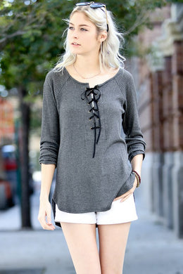Long Sleeve Front Lace Up Tunic
